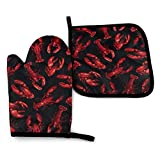 RENGMIAN Lobster Claws Crustaceans Sea Oven Mitts and Pot Holders Heat Resistant Oven Gloves Safe Cooking Baking Grilling