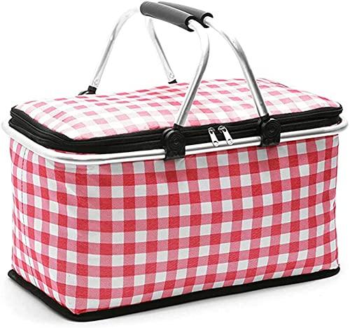 Cesta de la compra plegable de 30 l, cesta de pícnic, bolsa isotérmica, marco de aluminio fuerte, resistente al agua, para viajes, compras, camping, color rosa