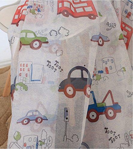 2er-Set Ösen oben Karikatur Tüll Vorhänge für Kinderzimmer (230*140 cm, Cartoon Car Tüll)