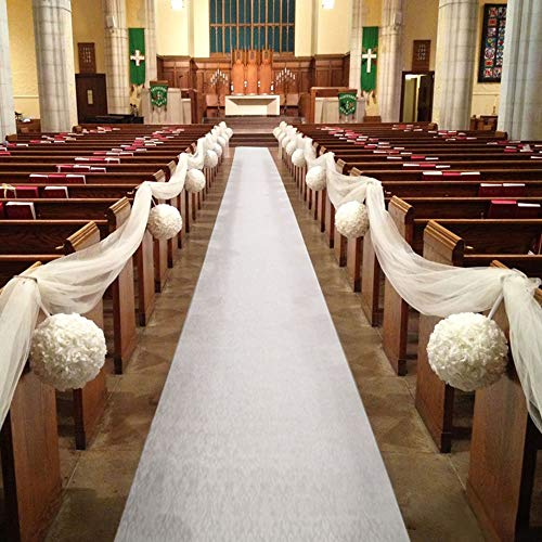 HAISEN Wedding Runner 50ft Solid Aisle Runners for Outdoor Weddings Decorations White