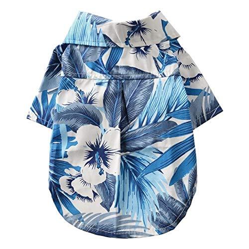 WENGE Hond Kleding Zomer Strand Shirt Hond Leuke Print Hawaii Beach Casual Huisdier Reizen Shirt Ananas Bloemen Korte Mouw Kat Blouse, M, H