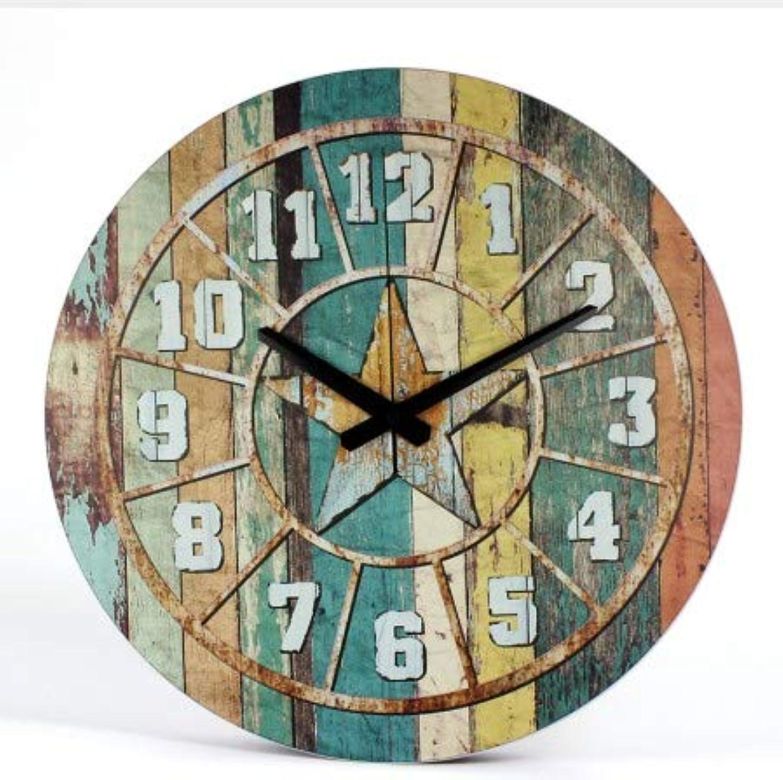 MNYOU Estilo Europeo Retro Reloj de Estudio Sala de Estar Moderno Minimalista Creativo Dormitorio Parojo Reloj con Reloj de número Romano, 12policies30cm