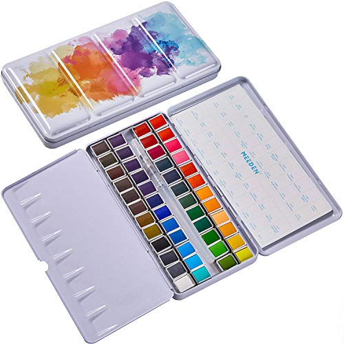 MEEDEN Watercolor Paint Set, 48 Vibrant Colors in Metal Tin Box, Watercolor Paint Palette and Watercolor Brush, Non-Toxic for Students, Kids, Beginners