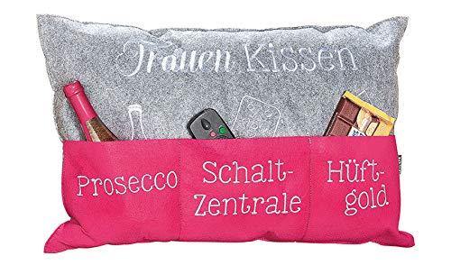 Handwerk Gilde Frauenkissen Dekokissen mit Fächern für Prosecco Schaltzentrale und Hüftgold 60x40 cm