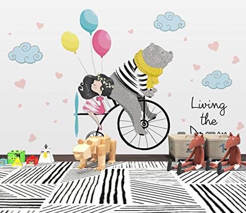 """3D Fiets Voor Meisjes WG0395 Behang Afdrukken Decal Deco Binnen Muur Muurschildering Zelfklevend Behang AJ WALLPAPER NL Muzi (Vinyl (geen lijm en verwijderbaar), 【123""""x87""""】312x219cm(WxH))"""