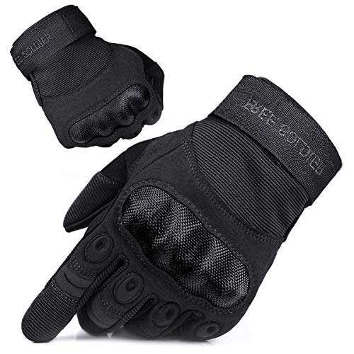 FREE SOLDIER Outdoor Handschuhe Herren Motorradhandschuhe Taktische Trainings Militär Kletter Handschuhe Vollfinger Gloves zum Wander Klettern Motorrad Fahrrad Radsport Arbeiten (XL, Schwarz)