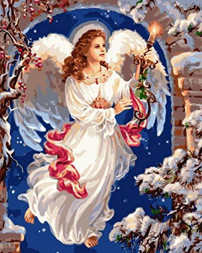 Zhonchng DIY Olieverf op nummer Kit,Schilderij Schilderij Kaars Engel Tekenen met Borstels 16 * 20 Inch Kerst Decor Decoraties Geschenken Met frame