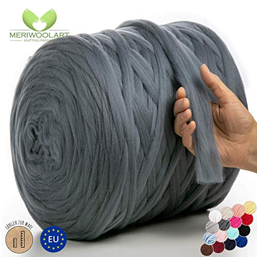 MeriWoolArt 100% Merinowolle zum Stricken & Häkeln mit 2 cm dickem Garn | Dicke Merino Wolle für XXL Schal, Decke & Kissen (Dunkelgrau, 100g)