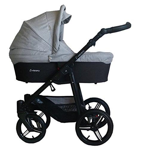 Vizaro ONYX 2021 DÚO 2 en 1 - Carrito de Bebé GAMA ALTA - MARCA ESPAÑOLA - Ligero y funcional - Garantía 3 Años - Textil GRIS Chasis NEGRO