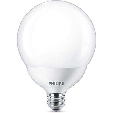 Philips LED bombilla forma globo, consumo de 18W equivalente a 120 W de una bombilla incandescente, casquillo gordo E27 luz blanca cálida