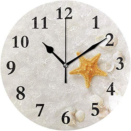 Moily Fayshow Reloj de Pared Redondo Playa de Arena Blanca Hogar Creativo Decorativo Silencioso Sin tictac Reloj con Pilas