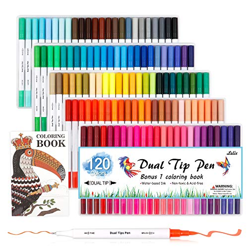Lelix 120 Colors Dual Tips Brush Pens Art Markers with a Coloring Book, Brush and Fine Point Pens Fineliner for Adults Kids Coloring Books Calligraphy Journaling Lettering Drawing
