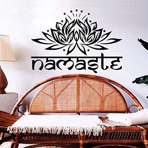 wZUN Decoración del hogar Indio religioso Pared calcomanía Vinilo Loto Yoga Pegatina Colorido Ganesha Flor casa decoración 33x49 cm