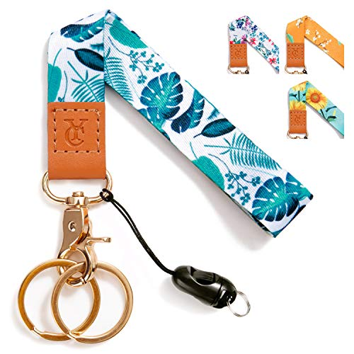 Wrist Lanyards Key Chain Holder Premium Quality Wristlet Lanyard Keychain for Women (Turtle Leaf)