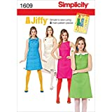 Simplicity Sewing Pattern 1609: Misses' Jiffy 1960's Vintage Dress, Size H5, Paper, White, (6-8-10-12-14)