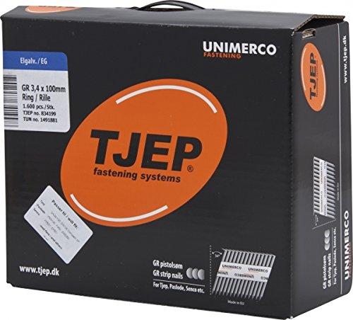 TJEP GR34/100 D-Kopf Streifennägel Rille Verzinkt, 3,4x100mm Maxibox