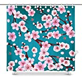 UIOIU - Cortina de ducha japonesa Sakura con flores de cerezo, accesorios de decoración de baño con ganchos, tela de poliéster impermeable, 182 x 182 cm