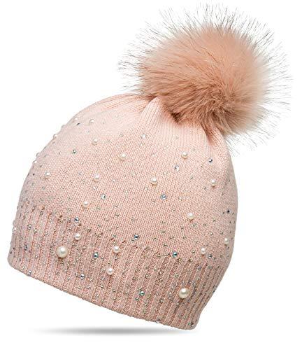 Caspar MU143 Gorro de Punto para Mujer con Pompón Grande y Perlas, Talla:Talla Única, Color:rosa