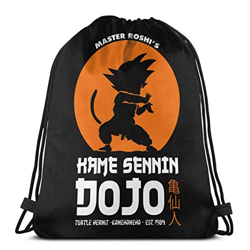 Chezaskee Goku Kame Sennin Dojo bolsas de cordón clásico hombres y mujeres deportes mochila bolsa de almacenamiento viaje playa bolsa