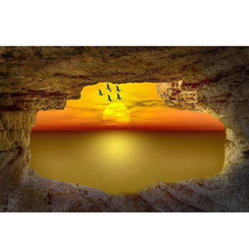 WZZPSD Puzzle 1000 Pezzi Grotta Tramonto sul Mare Salotto Puzzle in Legno Fai da Te Stile Regalo per La Casa