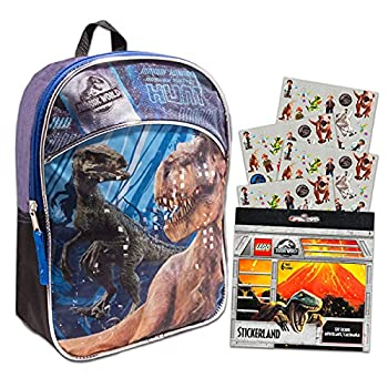 Jurassic World Dinosaur Mini Backpack Set -- Deluxe 11  Jurassic World Backpack for Kids Boys Toddlers with Dinotrux Stickers  Jurassic World School Party Supplies