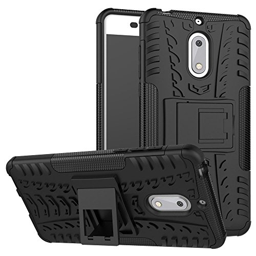 Nokia 6 Case, KimBoo Dual Layer Shock-Absorption Armor Cover Full-Body Protective Case with Kickstand Combo PC+TPU Back for Nokia 6 (Black)
