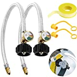 2 Packs 1/4inch Inverted RV Propane Hose Connector with Gauge 18inch Stainless Steel Braid...