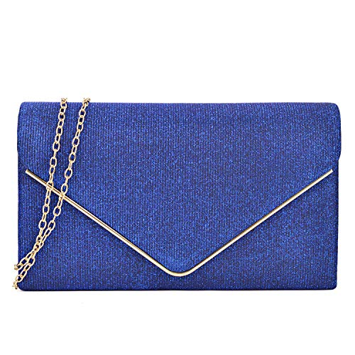 Women Clutches Handbags Evening Bags Glittering Wedding Purses Cocktail Prom Party Clutches Shoulder Bag(Blue)