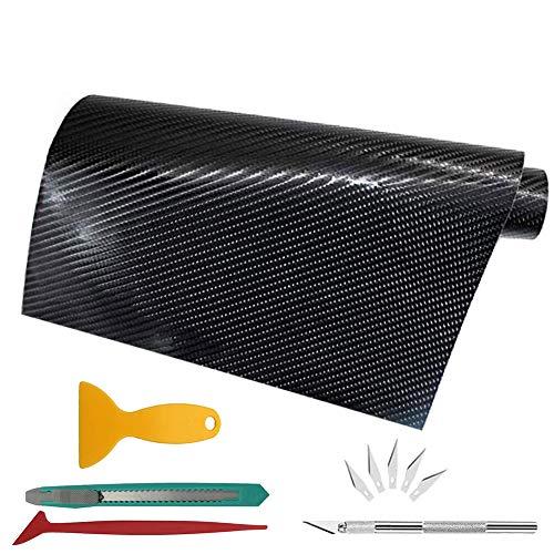 CALISTOUK 7D Etiqueta Adhesiva de Vinilo Negro de Fibra de Carbono de 300x30 cm para Exteriores para Uso automotriz Cuchillo Gratis Herramienta Manual