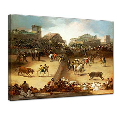Leinwandbild Francisco de Goya Die Geteilte Arena - 80x60cm quer - Wandbild Alte Meister Kunstdruck Bild auf Leinwand Berühmte Gemälde