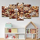 Hd Imprimé 5 Piece Art De Toile Biscuits Au Chocolat De Noël Mur Photos Pour Salon...