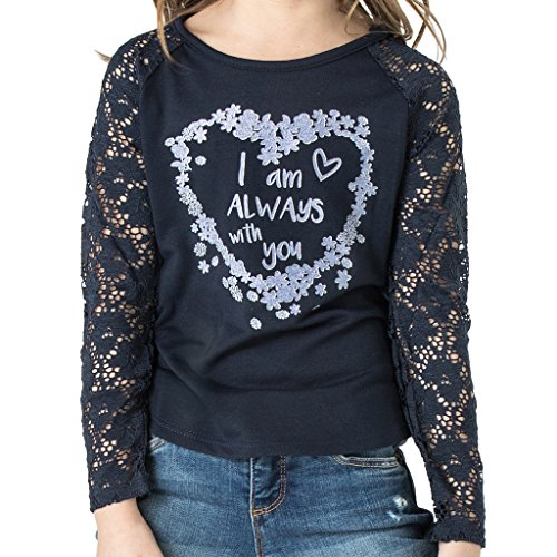 FASHION X FAITH Girls Long Sleeve Shirts - Allison Navy Raglan Lace Top Tees Clothes, Large, Made in...