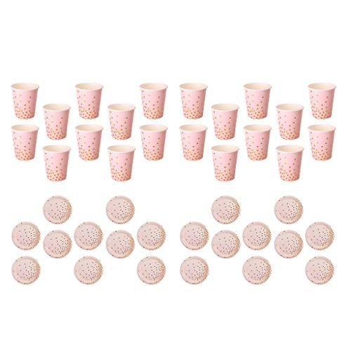 D DOLITY 40 Pièces Pois Or Papier Rose Gobelets et Assiettes Vaisselle Jetables pour Soirée Partie