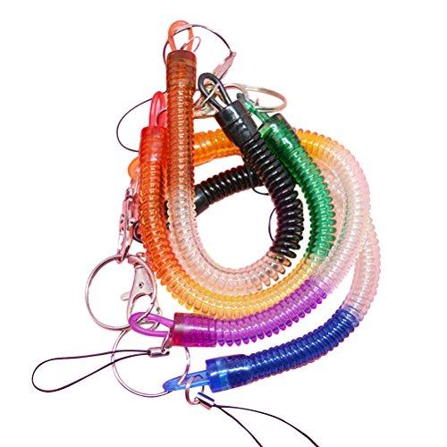 TOYMYTOY Portachiavi a Spirale Retrattile Elastico Colorato Portachiavi da 4 pezzi