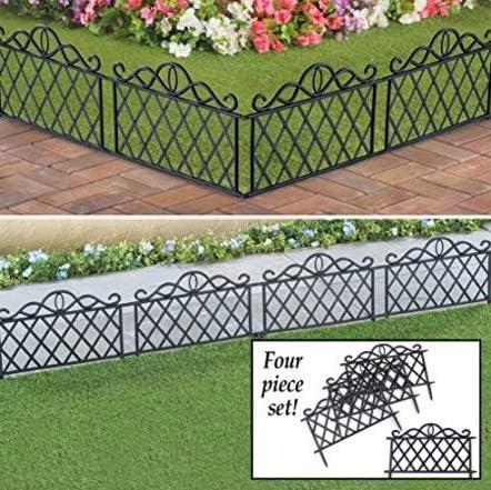 popular SkyMall Decorative 4 Piece 2021 Scroll Metal Look lowest Garden Border Fence - Black sale