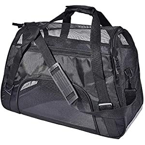PPOGOO Large Pet Travel Carriers 20.9×10.2×12.6 22lb(10KG) Soft Sided Portable Bags Dogs Cats Airline Approved Dog Carrier,Black,Upgraded Version