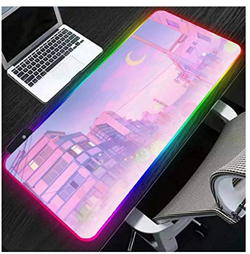 Gaming Mouse Pads Anime Sailor Moon Cute RGB Mouse Keybaord Pad Pink Purple Large Extended LED Gaming Laptop Mat USB Ports Smooth Surface Gamer Computer Desk Pads 23.6X11.8Inch