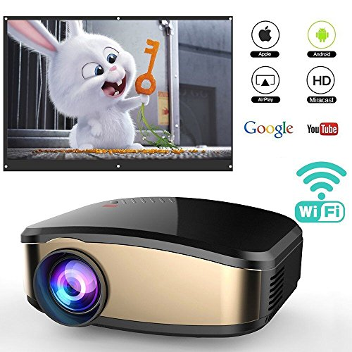 WiFi Projector for Smartphones, WEILIANTE Portable Mini LED Movie Video Projector Support Full HD 1080P with HDMI USB SD VGA AV for Home Cinema TV Laptop, Upgraded