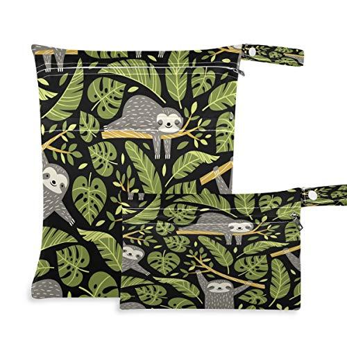 F17 - 2 bolsas húmedas secas con hojas de palma tropicales perezosos para pañales de tela de animales, impermeables, reutilizables para viajes, natación, playa, cochecito, ropa de gimnasio sucio