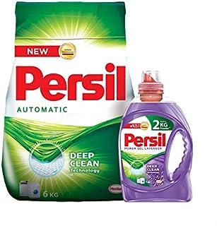 Persil Powder Detergent, 6 kg with Persil Power Gel Lavender Scent Detergent - 1 kg