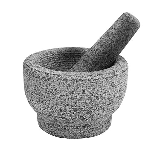 Laboratory 29 Unpolished Granite Mortar and Pestle Set for Guacamole, Herbs, Pesto, Salsa, Spices and Seasonings 6 Inch 2 Cup Capacity