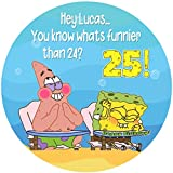 SpongeBob Whats Funnier 24 Round Personalized Edible Cake Image Cake Topper Decoration - 6' Inches Circle