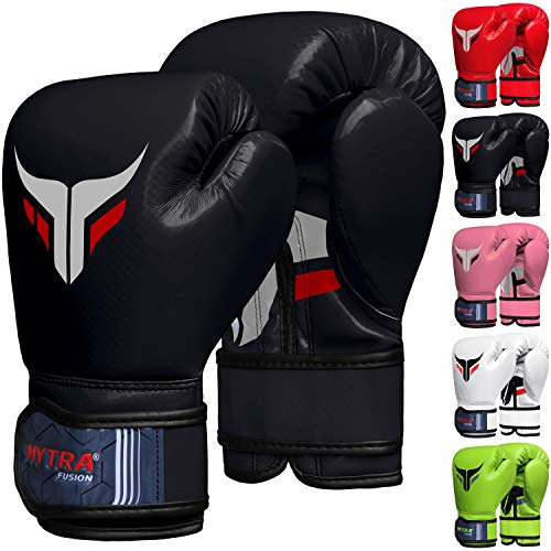 Mytra Fusion Kids Boxing Gloves Carbon AL2 (Black, 6OZ)