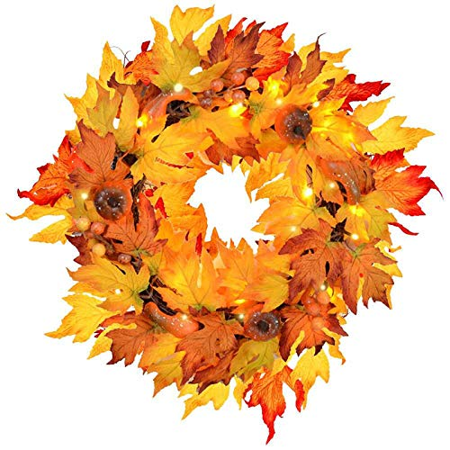 MorTime Thanksgiving Wreath with LED Lights Pumpkin Berries Maple Leaves, 17