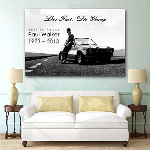 DHLHL Paul Walker Fast Furious Oldtimer Poster Leinwanddrucke Wandkunst für Wohnkultur 60x90cm ohne Rahmen