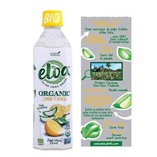 ELOA - Organic Aloe Vera Drink - Boisson à l'Aloe Vera Bio - Lemon Flavour - Saveur Citron (12 bottle case - carton de 12 bouteilles)