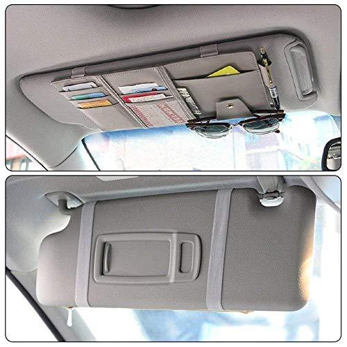 SuperglockT Kunstbeder Sonnenblendentasche KFZ Auto Sonnenblende Organizer CD Tasche Sonnenbrille Halter Kartenhalter Multifunktions Aufbewahrungstasche (Grau)