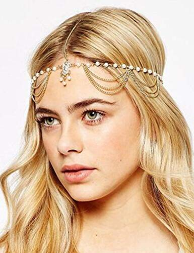 Chargances Women Head Chain Gold-tone Rhinestone Crystal Bridal Head Chain Wedding Hair Accessorie Indian Costume Jewelry Egyptian Headband Belly Dance or 1920s Fashion Style Party Headpiece for Women