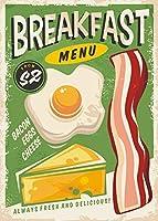 ベーコン&エッグヴィンテージ金属サイン、レトロな壁飾り、朝食、アメリカンダイナー