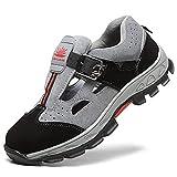 HMAKGG Zapatos de Seguridad Hombres Mujer con Punta de Acero Sandalias Zapatillas de Trabajo Transpirable,Gray,43EU